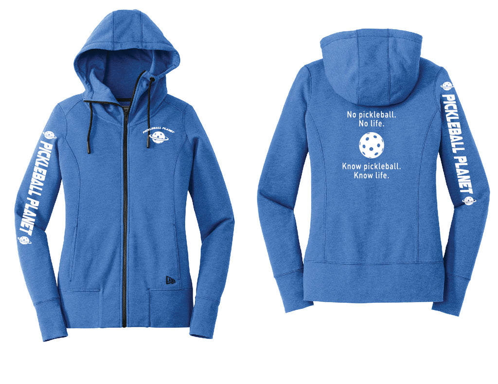 Ladies Full Zip Hoodie Royal Blue Heather Know Pickleball