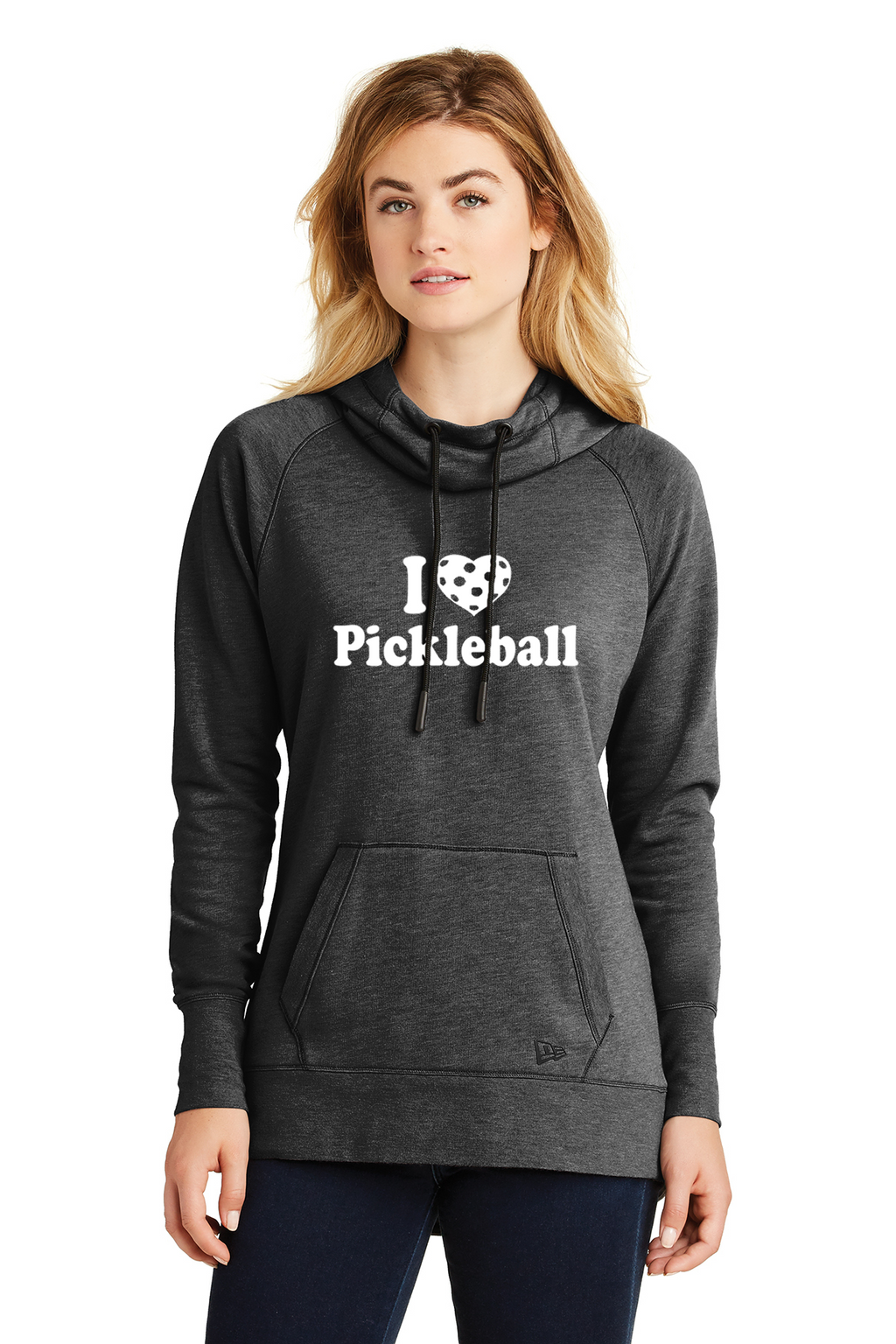 Ladies NEW ERA Tri-Blend Fleece Pullover Hoodie 'I Love Pickleball'