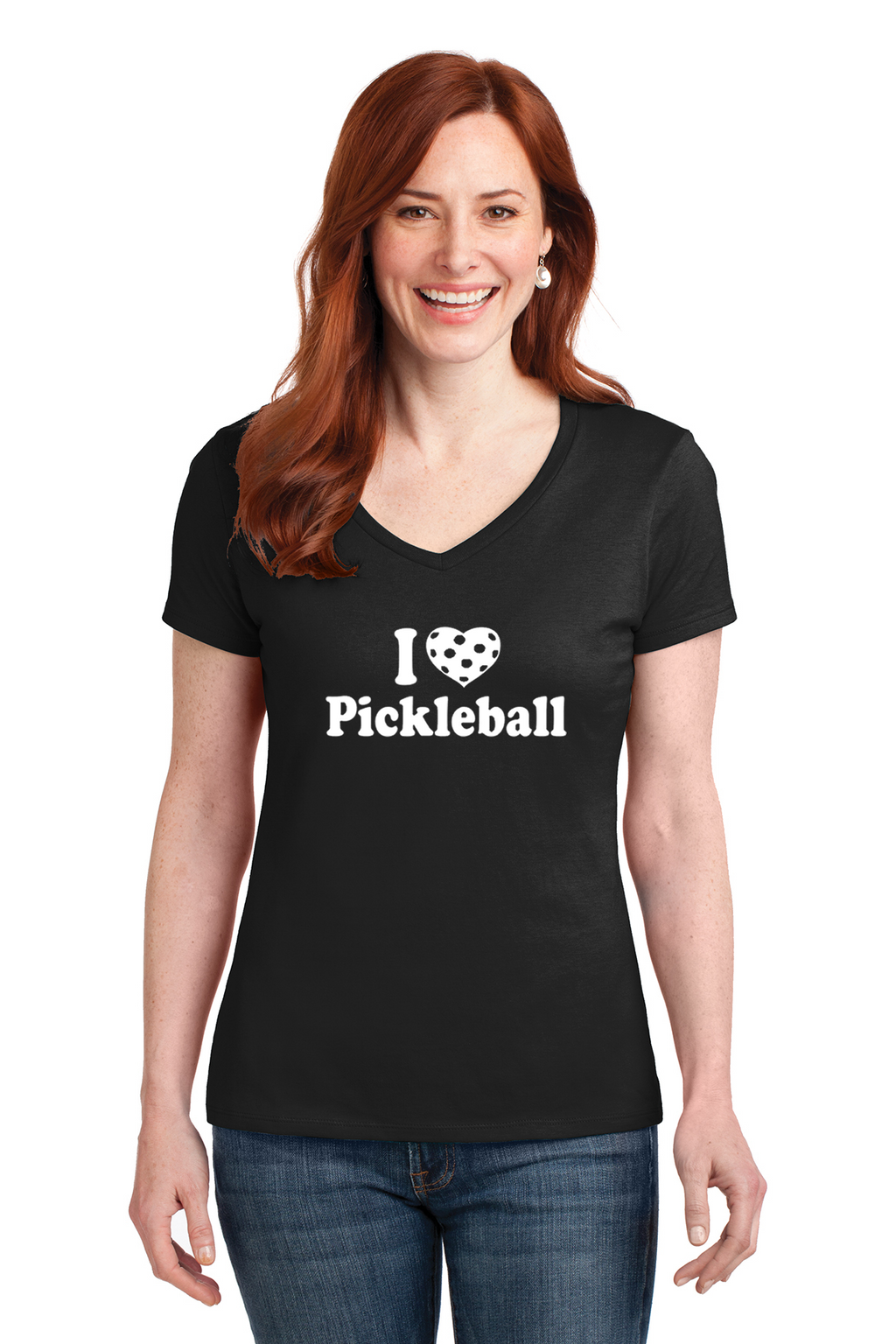 Ladies V-Neck 100% Cotton Short Sleeve Shirt 'I Love Pickleball'