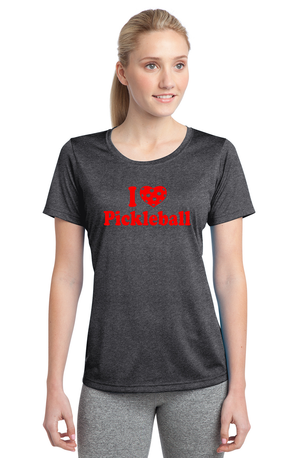 Ladies Heathered Short Sleeve Performance Scoop Neck Tee 'I Love Pickleball'