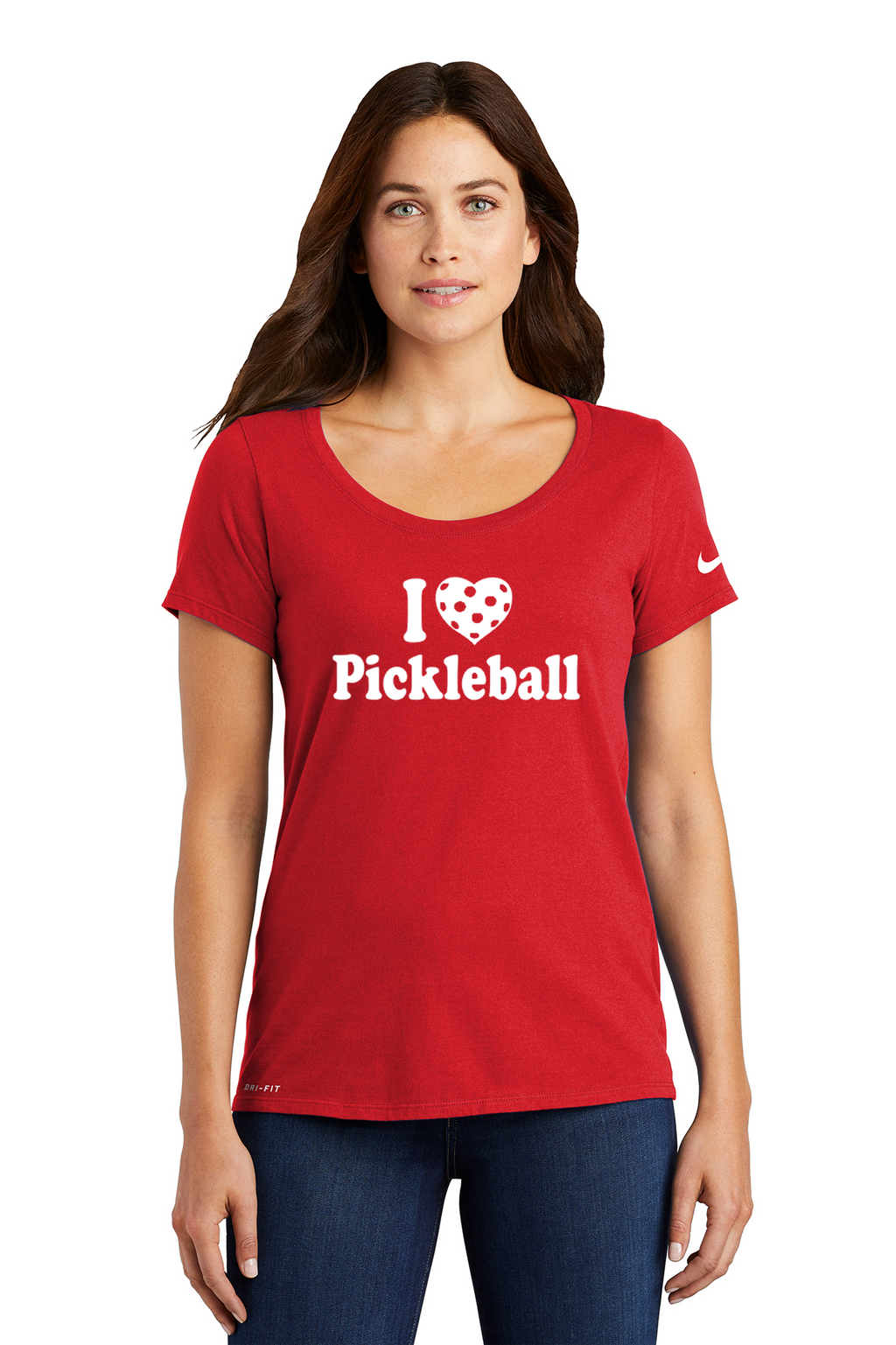 Ladies NIKE DRI-FIT Cotton/Poly Scoop Neck Tee 'I Love Pickleball'