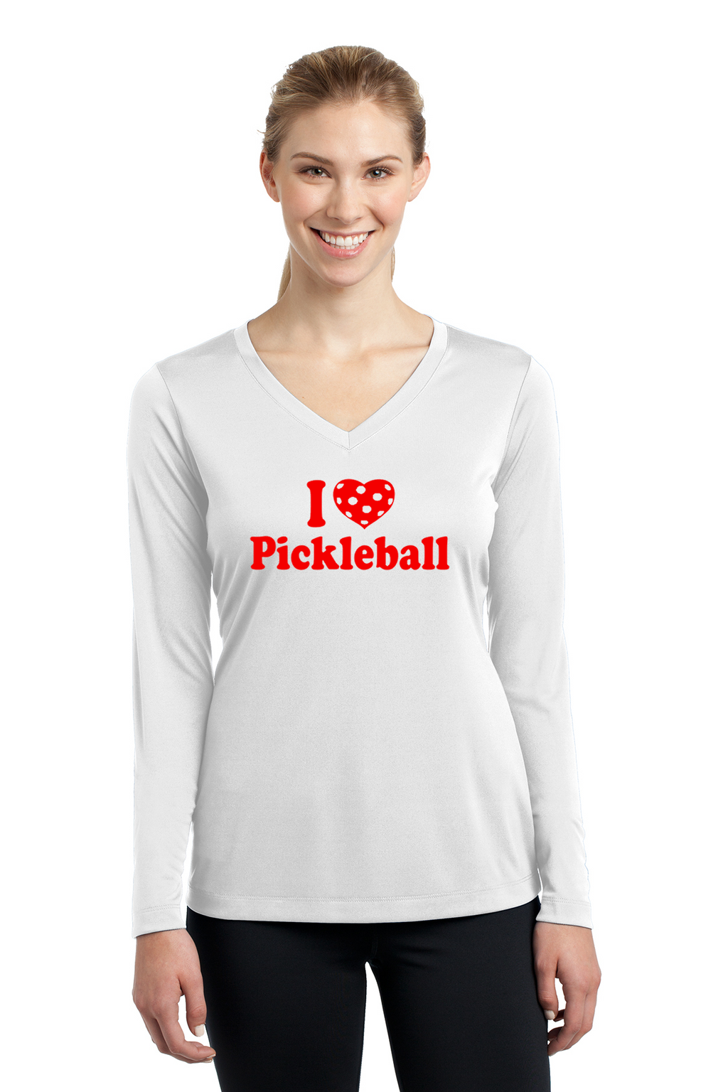 Ladies Long Sleeve V-Neck Performance Shirt 'I Love Pickleball'