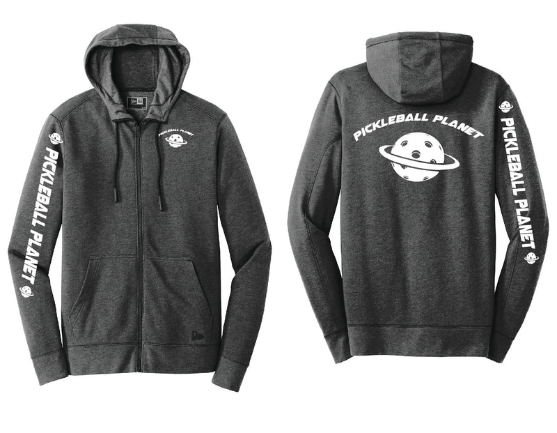 Men's Full Zip Hoodie Black Heather Pickleball Planet