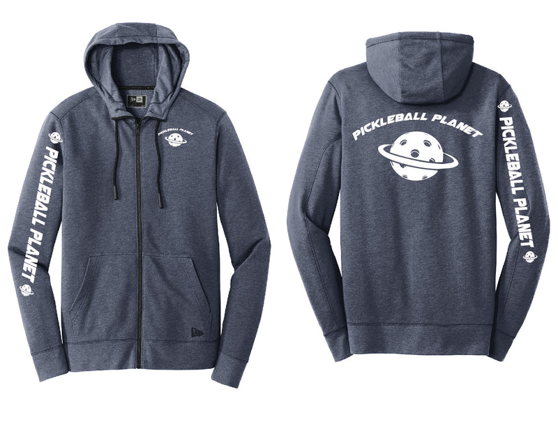 Men's Full Zip Hoodie Navy Heather Pickleball Planet