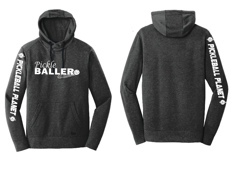Men's Pullover Hoodie Black Heather Pickleballer