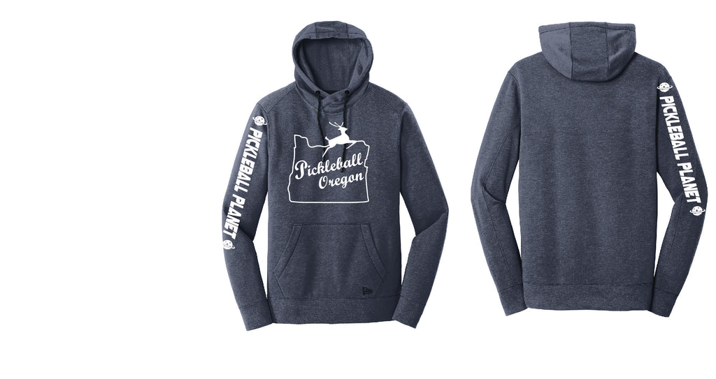 Men's Pullover Hoodie Navy Heather Pickleball Oregon