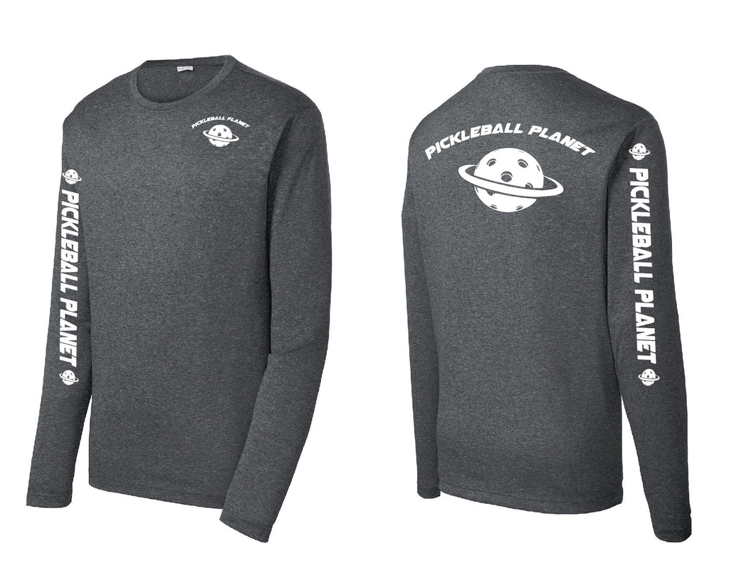 Men's Long Sleeve Heather Graphite Pickleball Planet