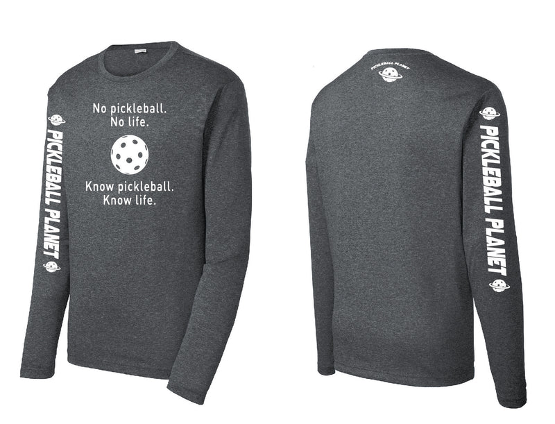 Men's Long Sleeve Heather Graphite Know Pickleball
