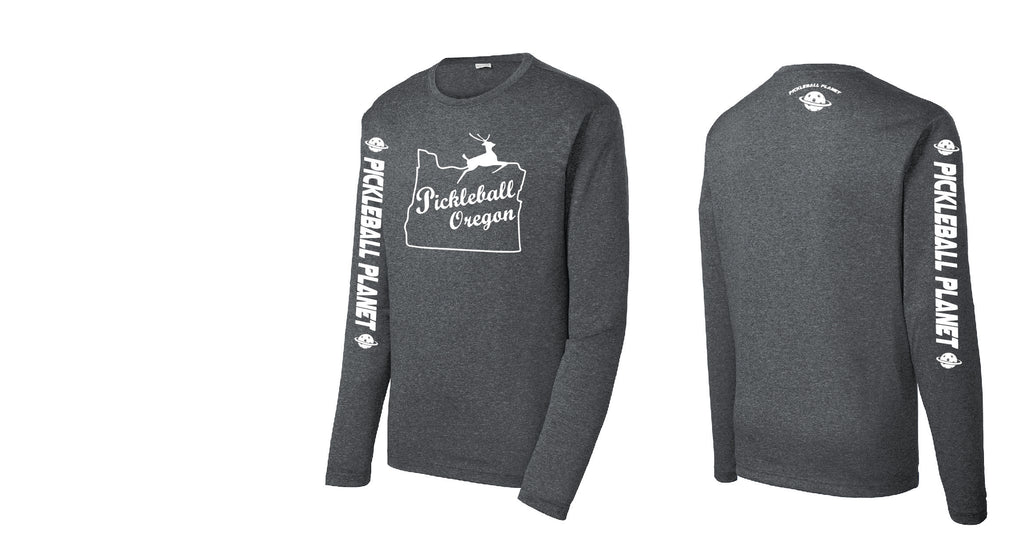 Men's Long Sleeve Heather Graphite Pickleball Oregon