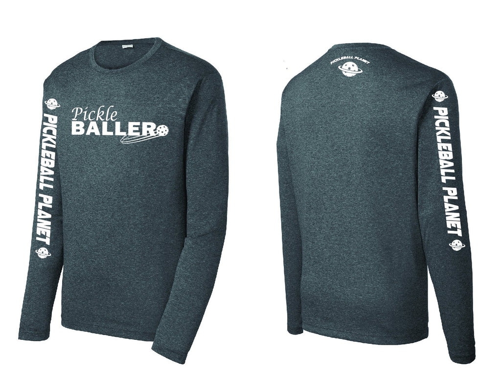 Men's Long Sleeve Heather Graphite Pickleballer