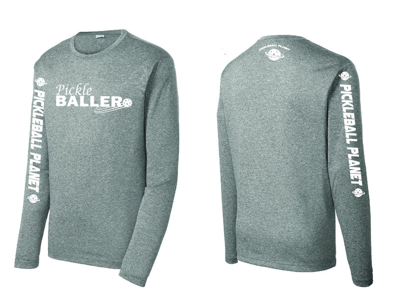 Men's Long Sleeve Heather Vintage Gray Pickleballer