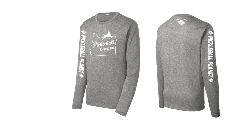 Men's Long Sleeve Heather Vintage Gray Pickleball Oregon