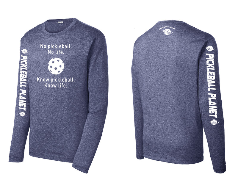 Men's Long Sleeve Heather Navy Blue Know Pickleball