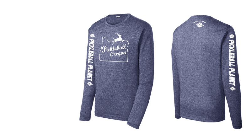 Men's Long Sleeve Heather Navy Blue Pickleball Oregon