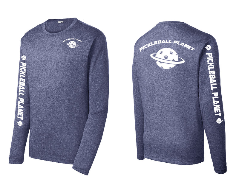 Men's Long Sleeve Heather Navy Blue Pickleball Planet