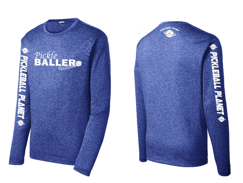 Men's Long Sleeve Heather Navy Blue Pickleballer