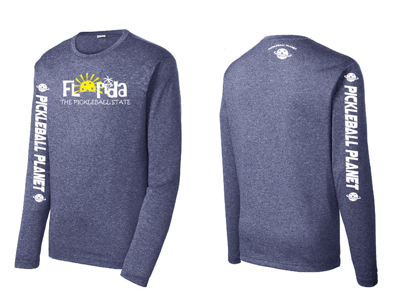 Men's Long Sleeve Heather Navy Blue Florida