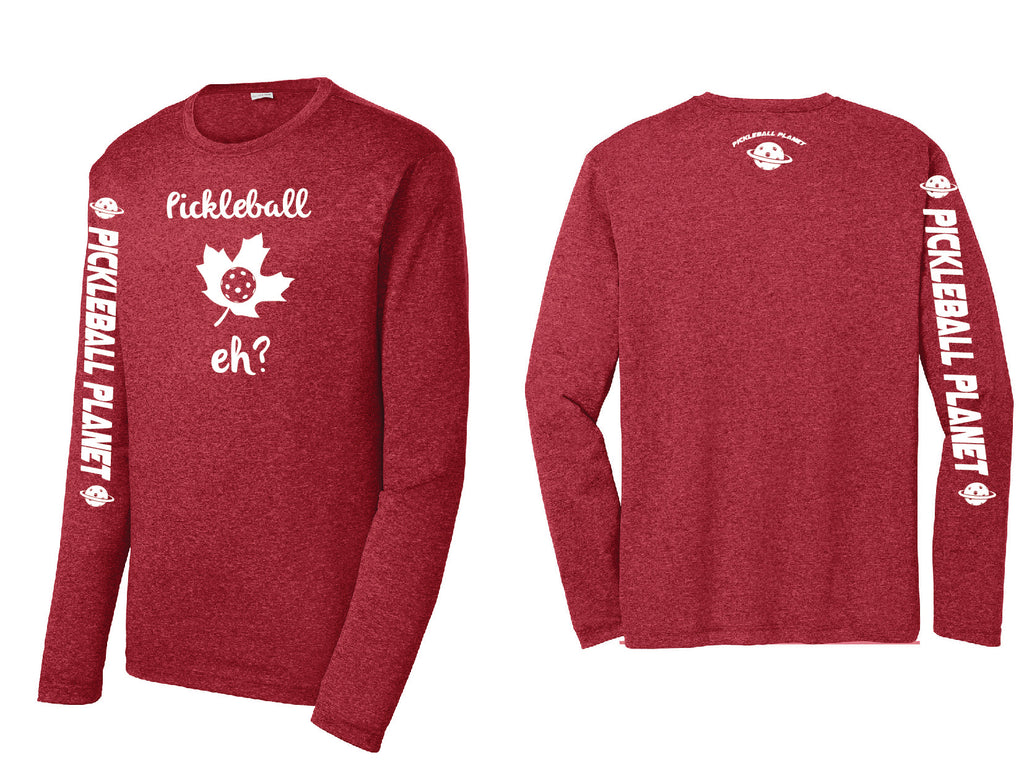 Men's Long Sleeve Heather Scarlet Red Pickleball Eh