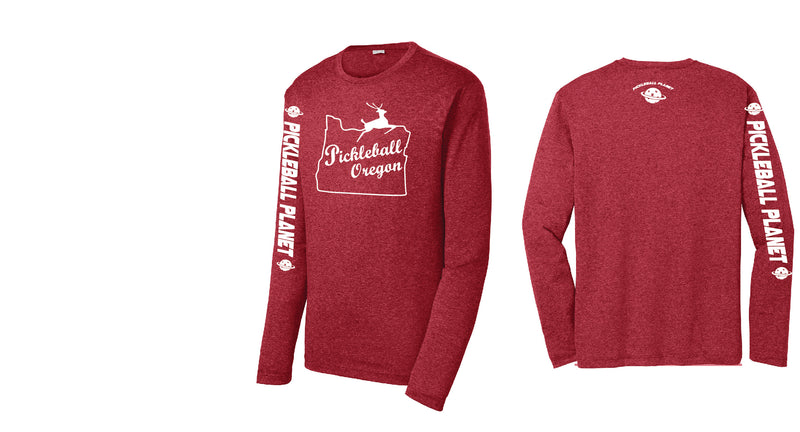 Men's Long Sleeve Heather Scarlet Red Pickleball Oregon