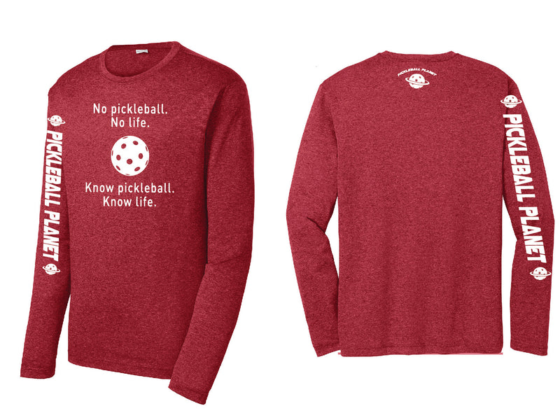 Men's Long Sleeve Heather Scarlet Red Know Pickleball