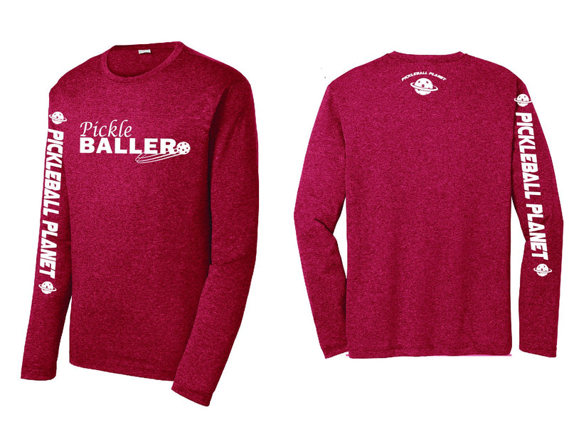 Men's Long Sleeve Heather Scarlet Red Pickleballer