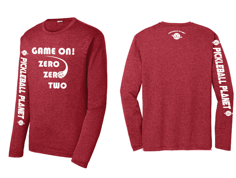 Men's Long Sleeve Heather Scarlet Red Game On