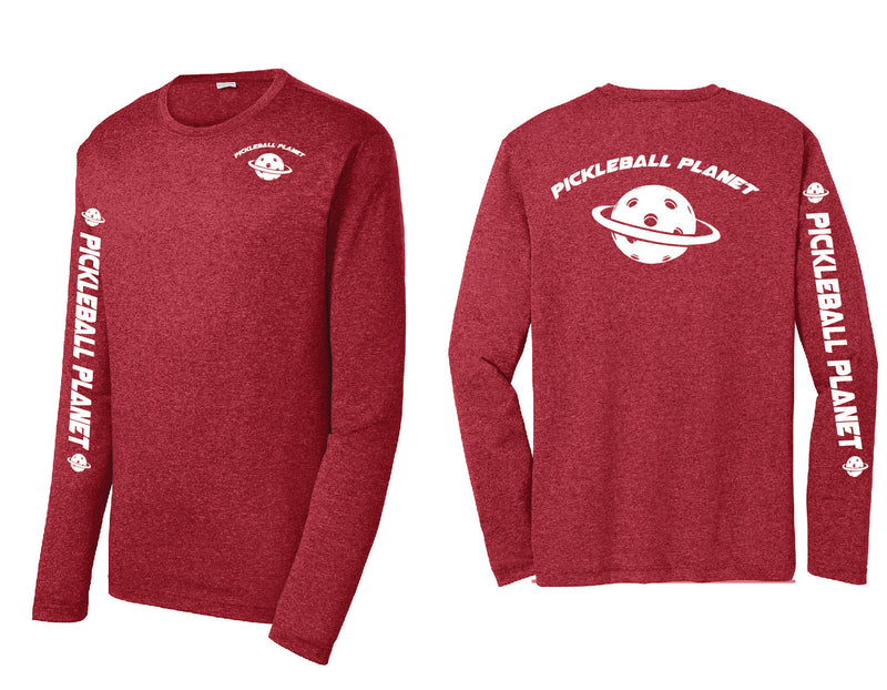 Men's Long Sleeve Heather Red Pickleball Planet