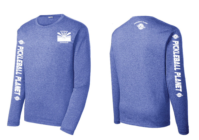 Men's Long Sleeve Heather Royal Blue Arizona Flag