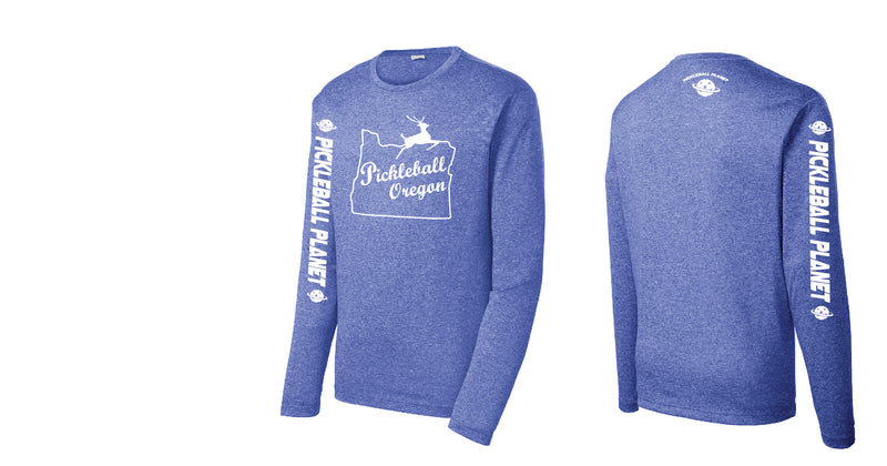 Men's Long Sleeve Heather Royal Blue Pickleball Oregon