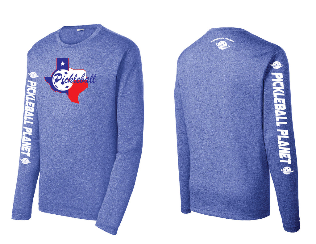Men's Long Sleeve Heather Royal Blue Texas State