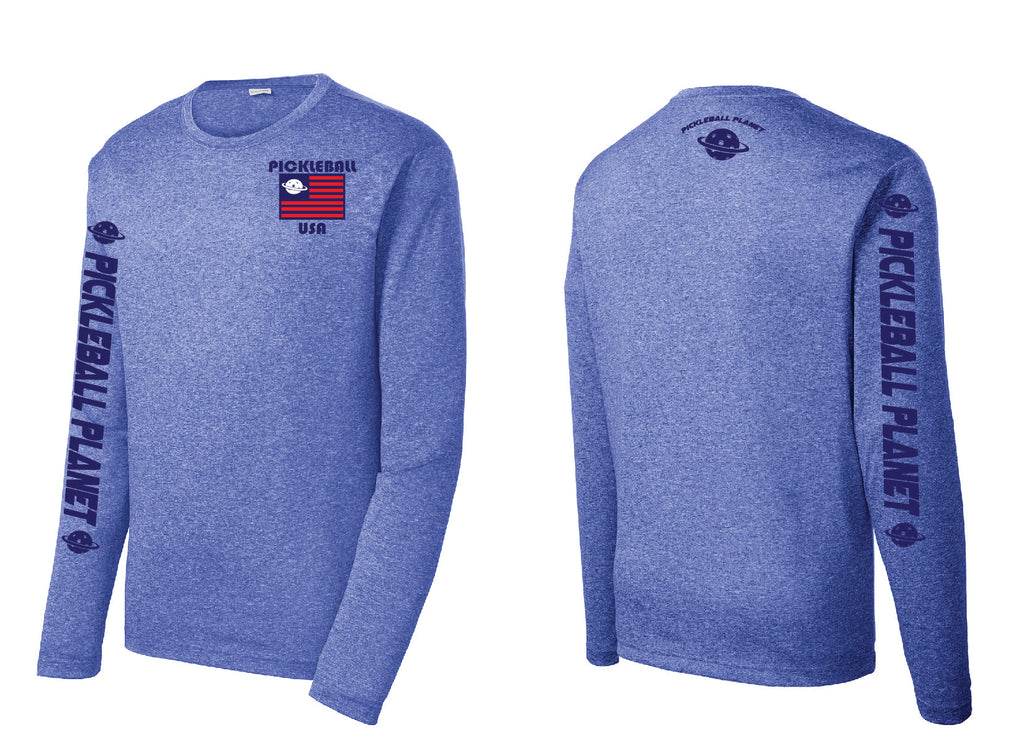 Men's Long Sleeve Heather Royal Blue PB USA
