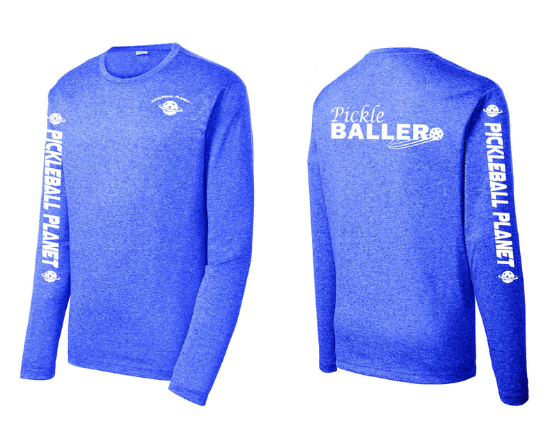 Men's Long Sleeve Heather Royal Blue Pickleballer