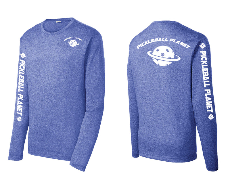 Men's Long Sleeve Heather Royal Blue Pickleball Planet