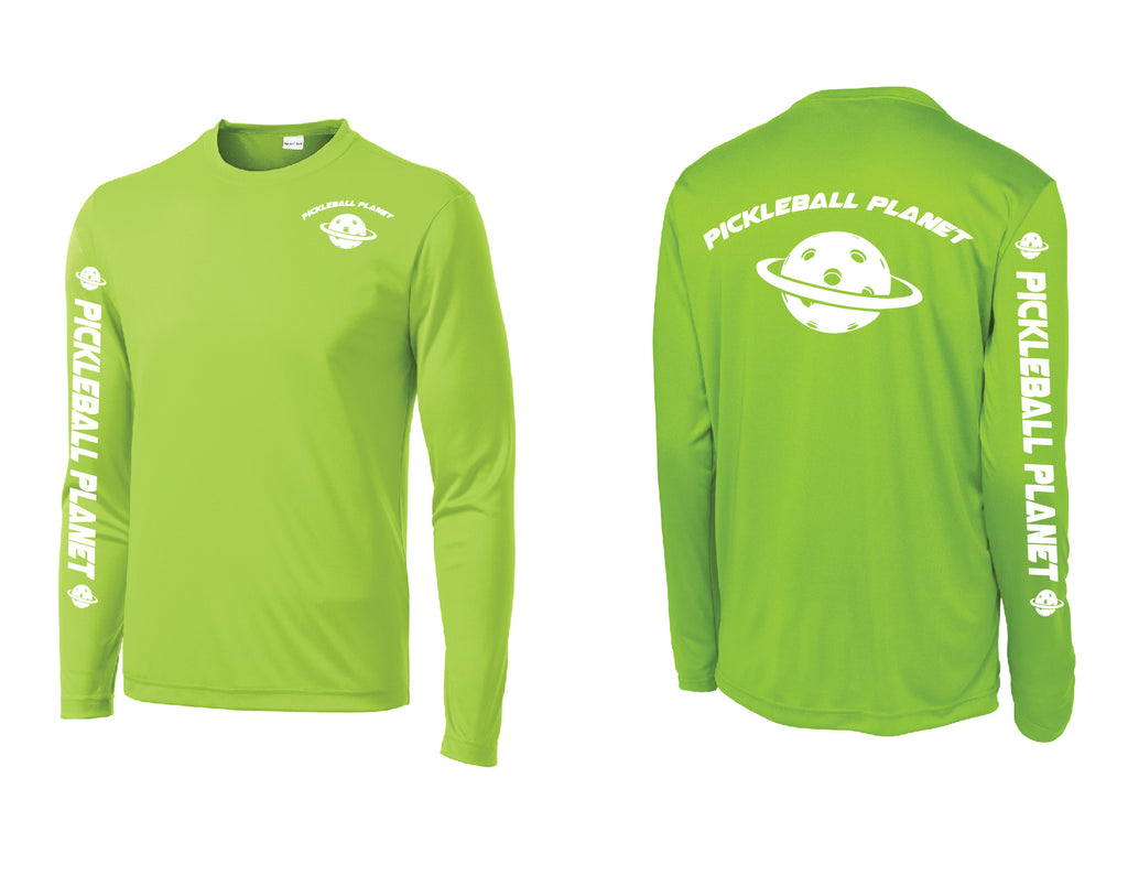 Men's Long Sleeve Lime Shock Green Pickleball Planet