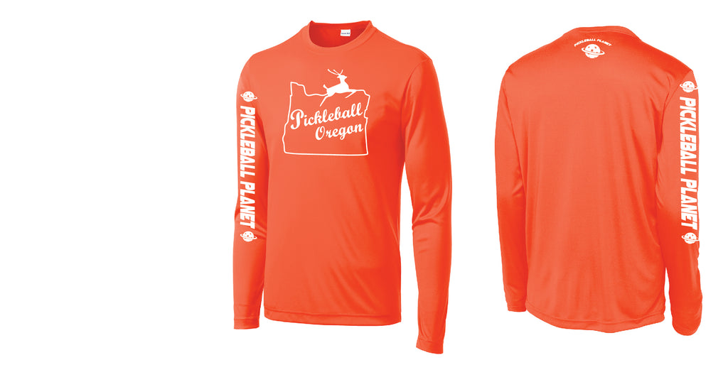 Men's Long Sleeve Neon Orange Pickleball Oregon