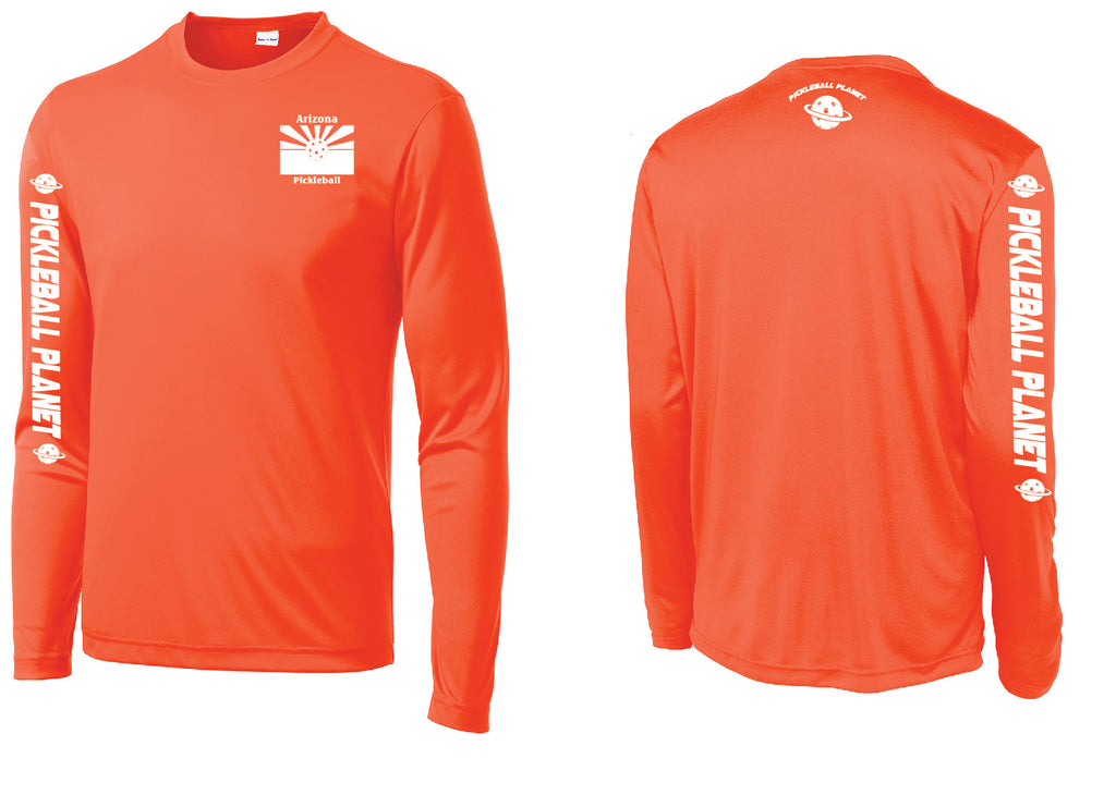 Men's Long Sleeve Neon Orange Arizona Flag