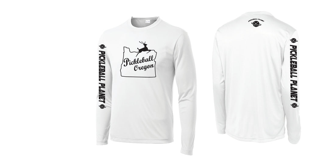 Men's Long Sleeve White Pickleball Oregon