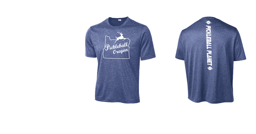 Men's Short Sleeve Heather Royal Blue Pickleball Oregon