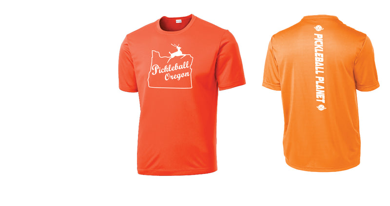 Men's Short Sleeve Neon Orange Pickleball Oregon