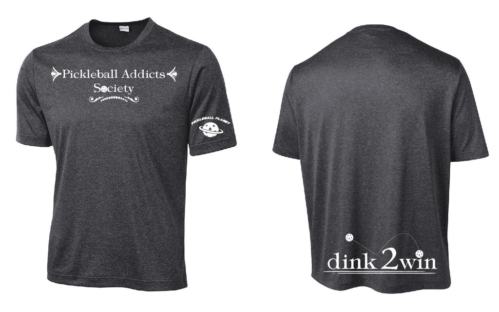 Men's Short Sleeve Performance Tee 'Pickleball Addicts Society' Graphite Heather