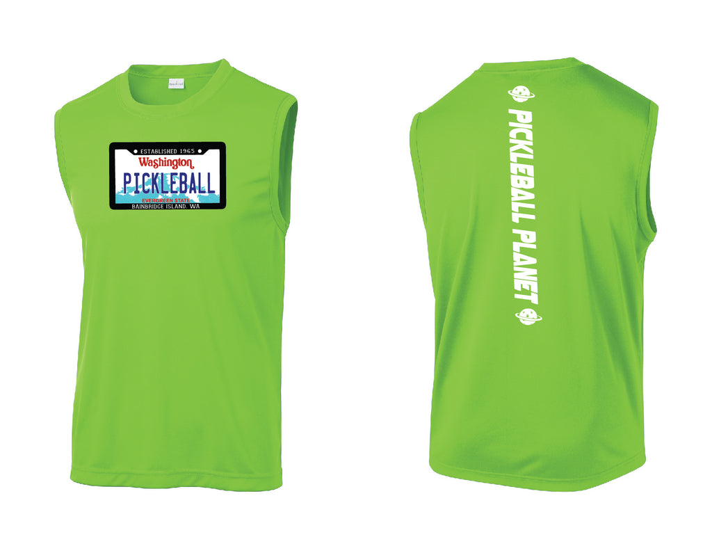 Men's Sleeveless Tank Lime Shock Green Washington Plate