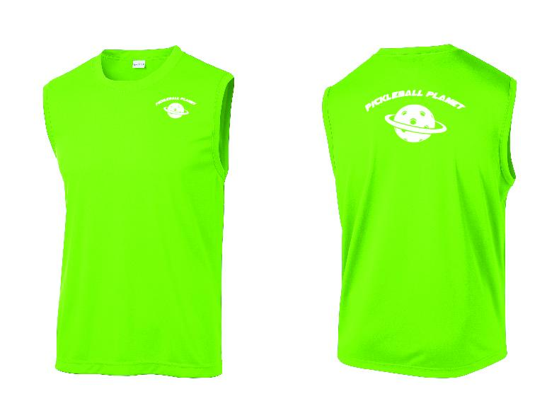 Men's Sleeveless Tank Lime Shock Green Pickleball Planet