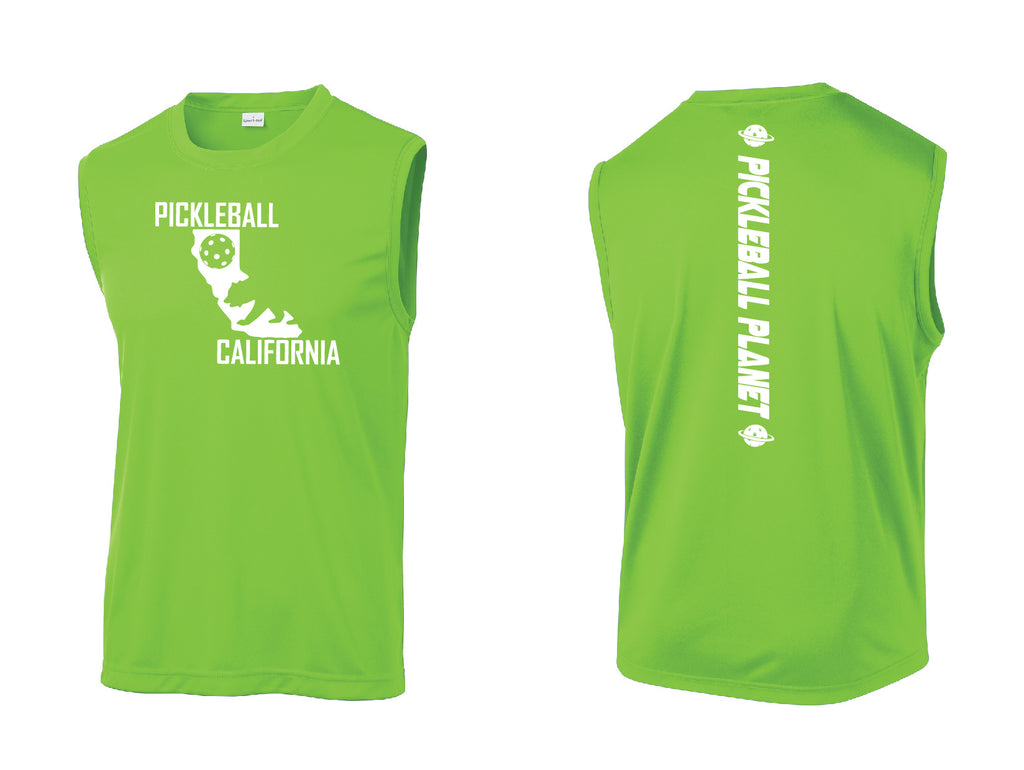 Men's Sleeveless Tank Lime Shock Green California Bear