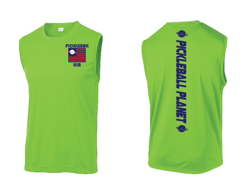 Men's Sleeveless Tank Lime Shock Green Pickleball USA