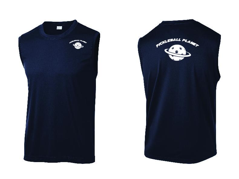 Men's Sleeveless Tank Navy Blue Pickleball Planet