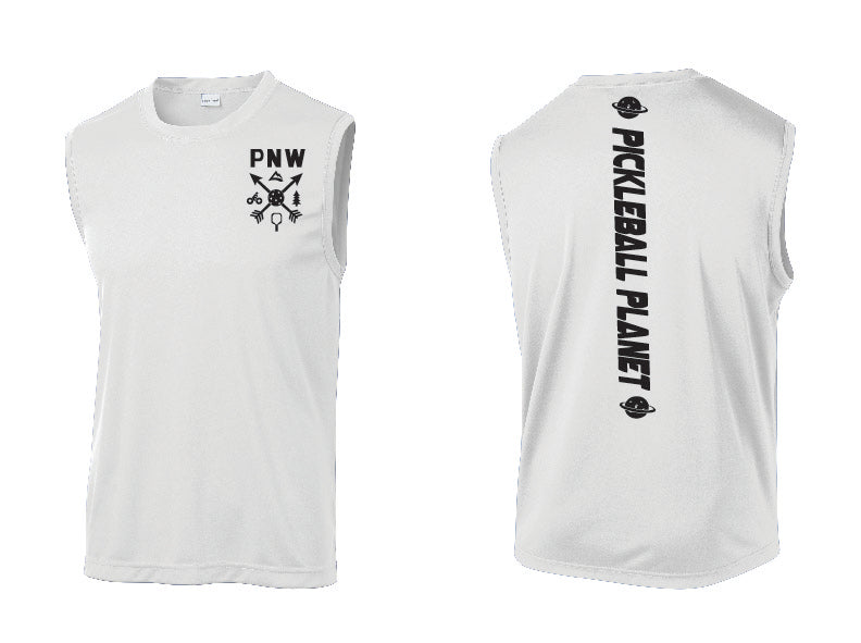 Men's Sleeveless Tank White PNW
