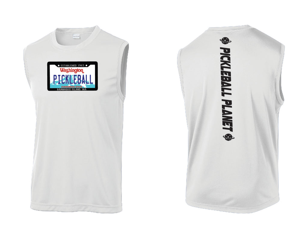 Men's Sleeveless Tank White Washington Plate