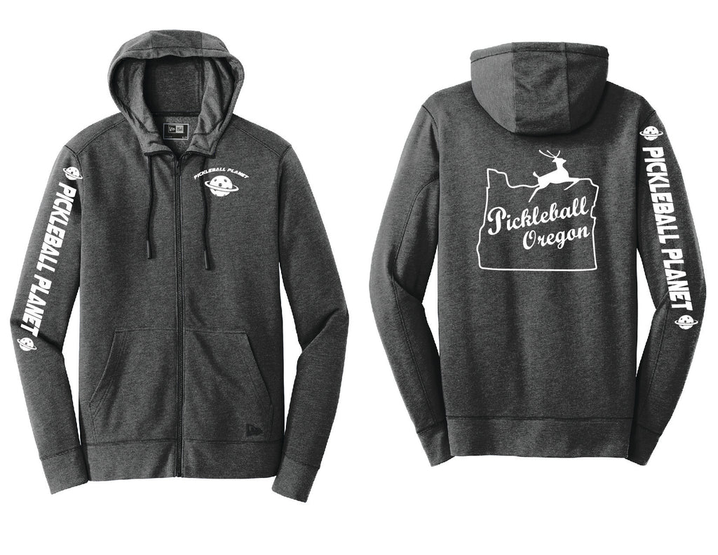 Men's Full Zip Hoodie Black Heather Pickleball Oregon