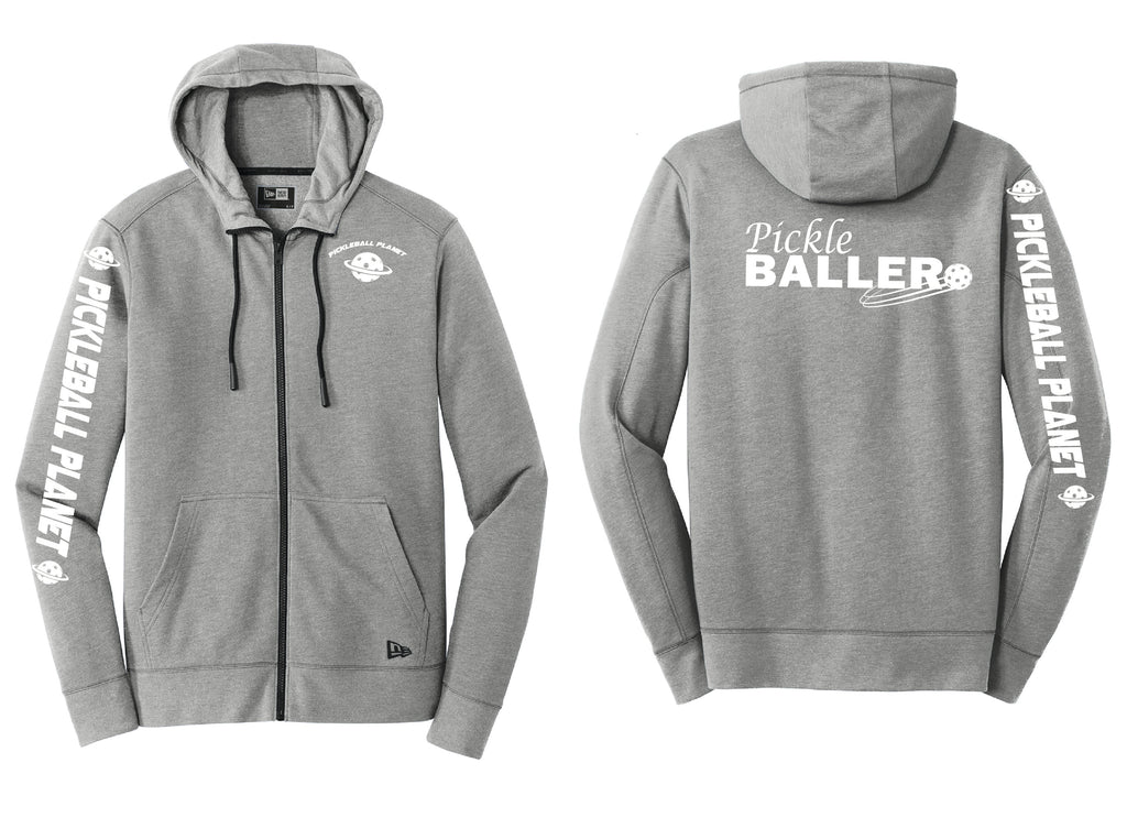 Men's Full Zip Hoodie Shadow Gray Heather Pickleballer