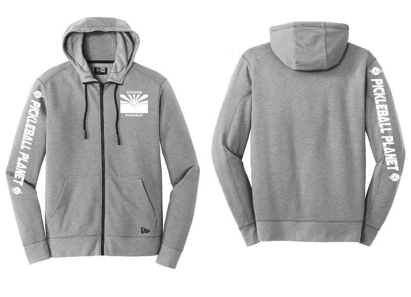 Men's Full Zip Hoodie Shadow Gray Heather Arizona Flag